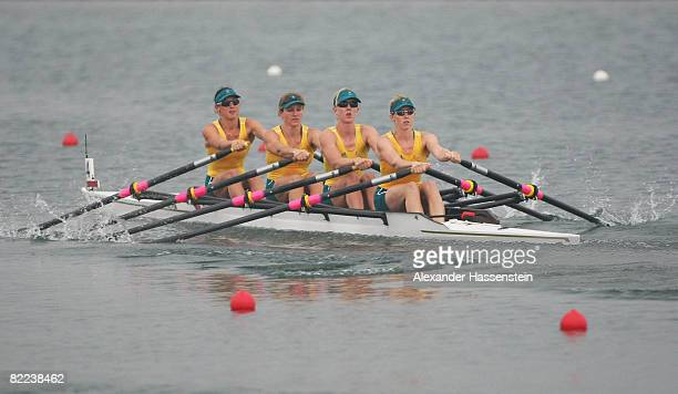 Zoe Uphill, Amber Bradley, Kerry Hore and Amy Ives of Australia compete in the Women's Quadruple Sculls Heat 2 at the Shunyi Olympic Rowing-Canoeing...