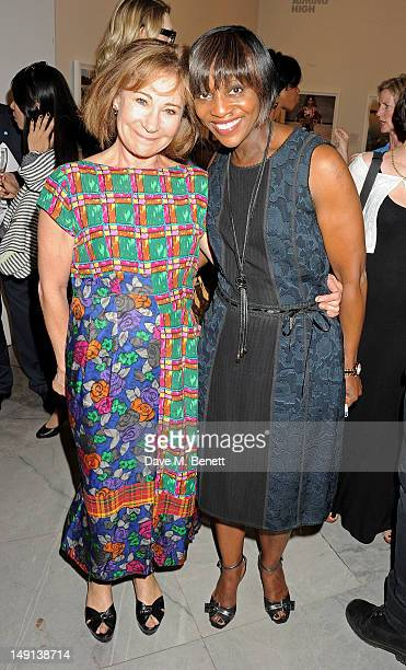 Zoe Wanamaker and Brenda Emmanus attend a champagne reception introducing the Voice of a Woman Awards, featuring a private viewing of the Cultural...