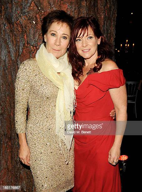Zoe Wanamaker and Finty Williams arrive at the Shakespeare's Globe Gala Dinner hosted by Zoe Wanamaker on October 17 2013 in London England