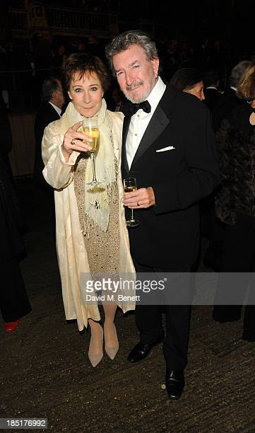 Zoe Wanamaker and Gawn Grainger arrive at the Shakespeare's Globe Gala Dinner hosted by Zoe Wanamaker on October 17 2013 in London England