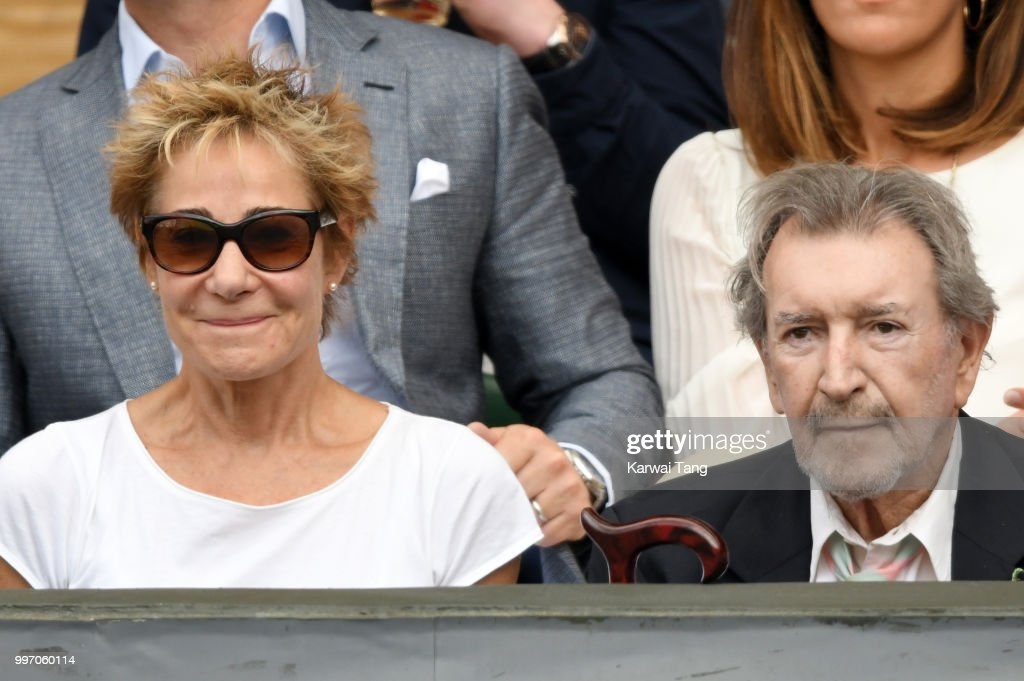 Zoe Wanamaker and Gawn Grainger attend day ten of the Wimbledon Tennis Championships at the All England Lawn Tennis and Croquet Club on July 12, 2018 in London, England.