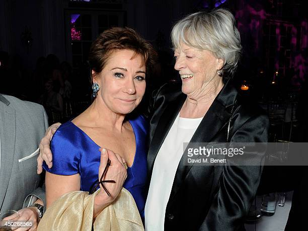 Zoe Wanamaker and Icon Award winner Dame Maggie Smith attend an after party following the 59th London Evening Standard Theatre Awards at The Savoy...