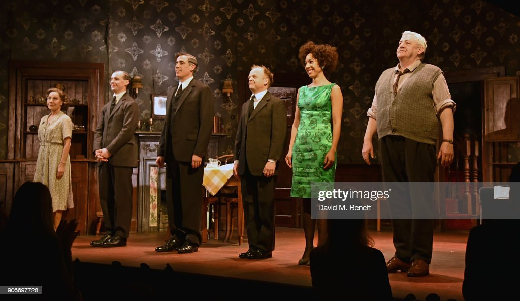 Zoe Wanamaker, Tom Vaughan-Lawlor, Stephen Mangan, Toby Jones, Pearl Mackie and Peter Wight bow at the curtain call during the press night performance of 'The Birthday Party' at The Harold Pinter Theatre on January 18, 2018 in London, England.