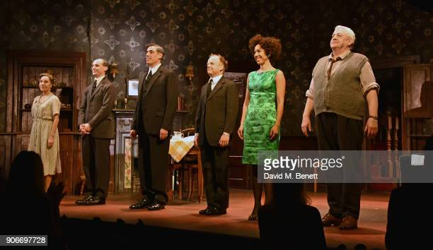 Zoe Wanamaker Tom VaughanLawlor Stephen Mangan Toby Jones Pearl Mackie and Peter Wight bow at the curtain call during the press night performance of...