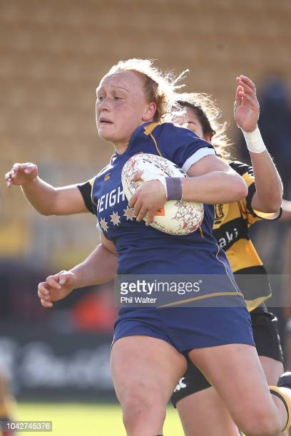 Zoe Whatarau of Otago runs in for a try during the round five Farah Palmer Cup match between Taranaki and Otago at Yarrow Stadium on September 29...