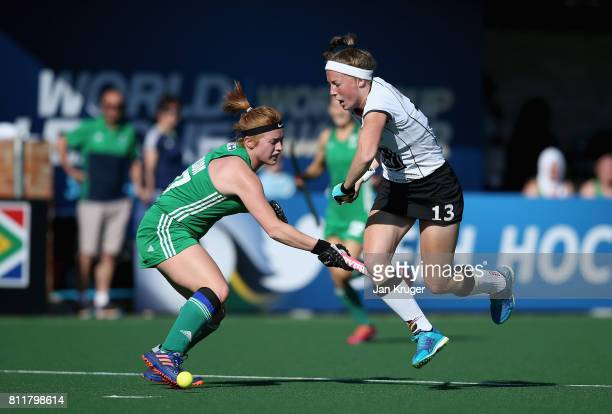 Zoe Wilson of Ireland and Teresa Martin Pelegrina of Germany battle for possession during day 2 of the FIH Hockey World League Semi Finals Pool A...