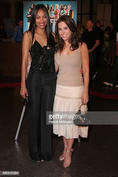 Zoe Zaldana and Lacey Chabert attend Dirty Deeds World Premiere at Directors Guild of America on August 23 2005 in Hollywood CA