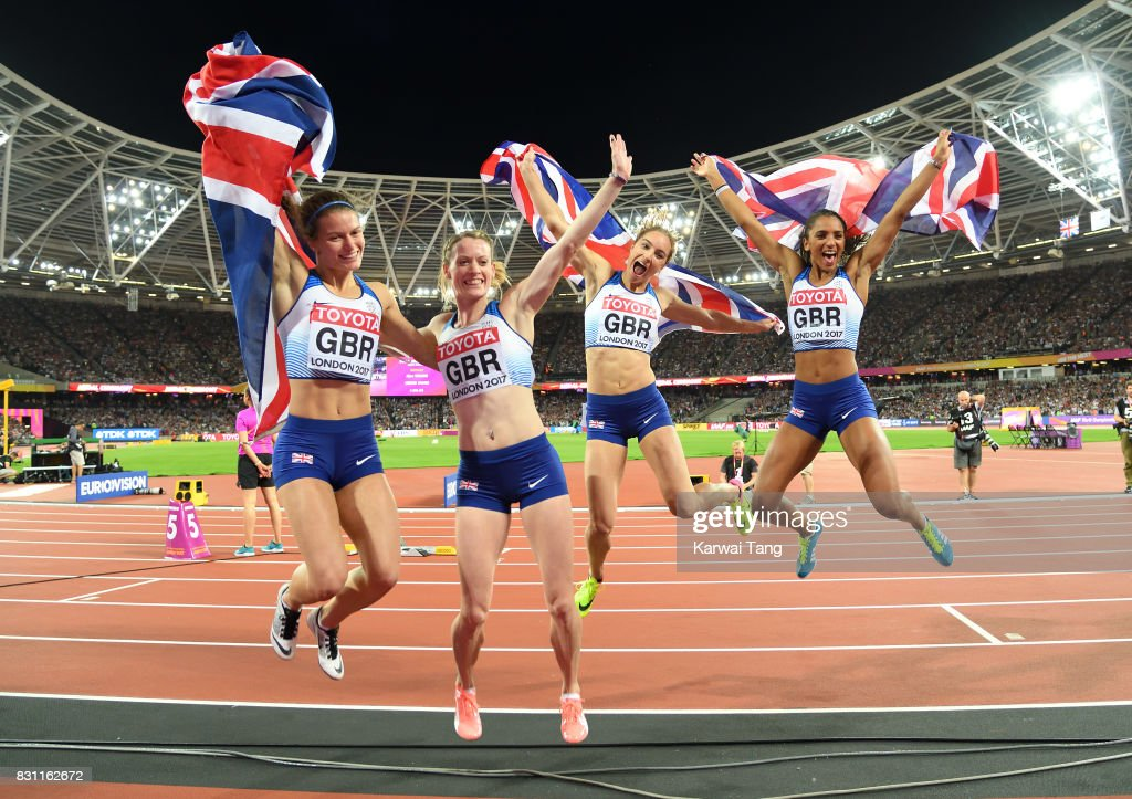 Zoey Clark, Laviai Nielsen, Eilidh Doyle and Emily Diamond of Great Britain celebrate winning silver in the Women's 4x400 Metres Relay final during day ten of the 16th IAAF World Athletics Championships at the London Stadium on August 13, 2017 in London, United Kingdom.