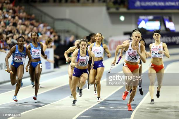 Zoey Clark of Great Britain in action during the final of the women's 4x400m relay on day three of the 2019 European Athletics Indoor Championships...