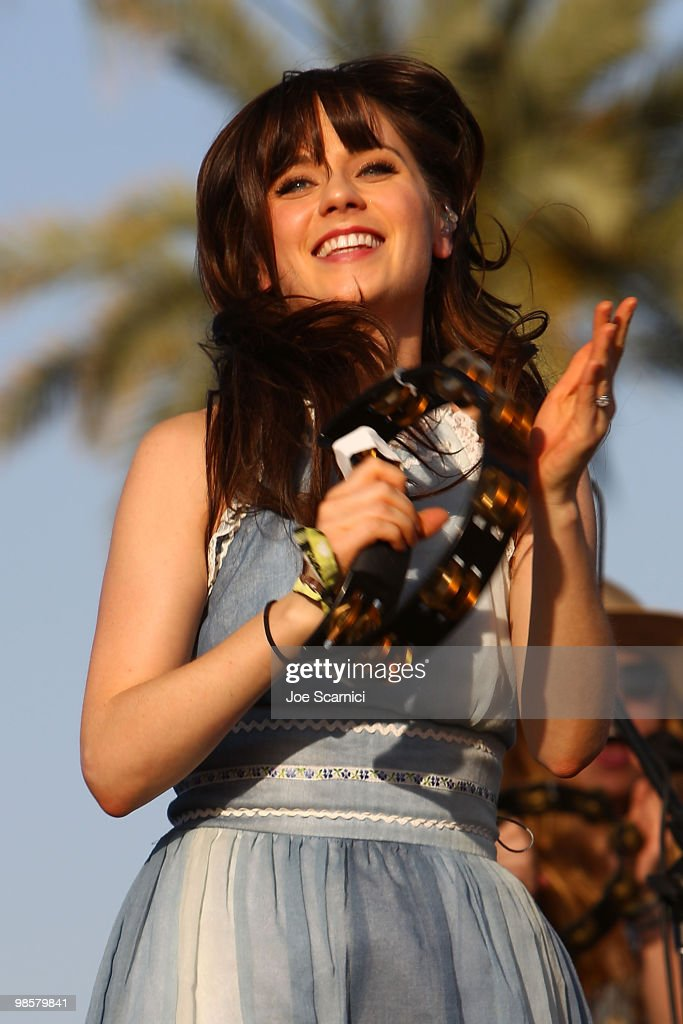Zoey Deschanel of 'She & Him' performs on Day 1 of the 2010 Coachella Valley Music & Arts Festival at The Empire Polo Club on April 16, 2010 in Indio, California.