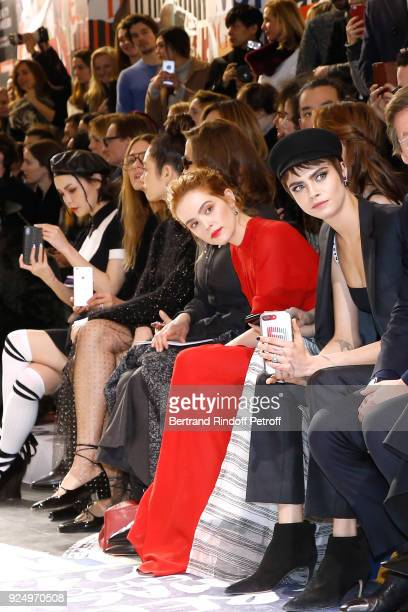 Zoey Deutch and Cara Delevingne attend the Christian Dior show as part of the Paris Fashion Week Womenswear Fall/Winter 2018/2019 on February 27 2018...