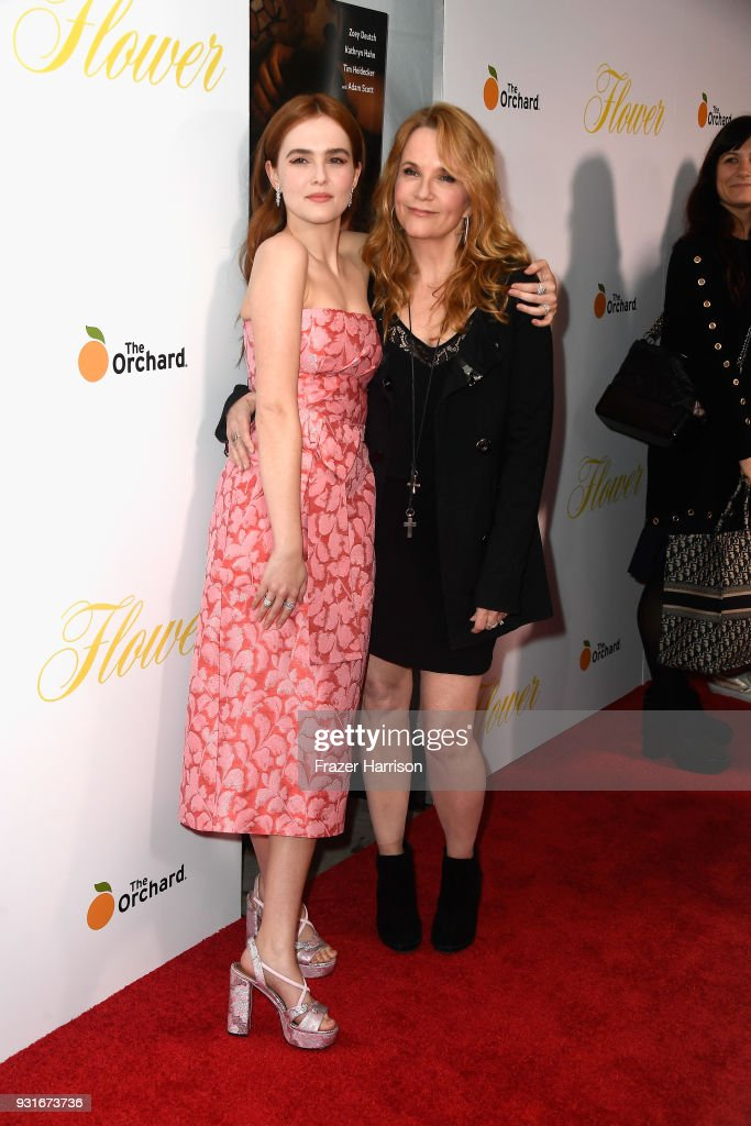 Zoey Deutch and Lea Thompson attend the premiere of The Orchard's 'Flower' at ArcLight Cinemas on March 13, 2018 in Hollywood, California.