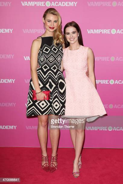 Zoey Deutch and Lucy Fry arrive at the 'Vampire Academy' premiere at Event Cinemas George Street on February 20 2014 in Sydney Australia