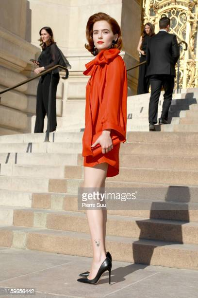 Zoey Deutch attends the Giorgio Armani Prive Haute Couture Fall/Winter 2019 2020 show as part of Paris Fashion Week on July 02 2019 in Paris France