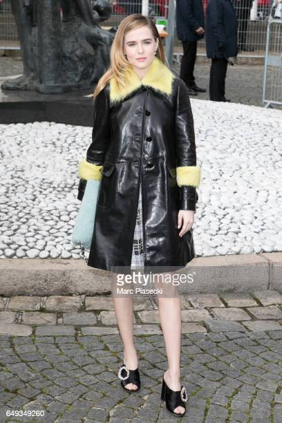 Zoey Deutch attends the Miu Miu show as part of the Paris Fashion Week Womenswear Fall/Winter 2017/2018 on March 7 2017 in Paris France
