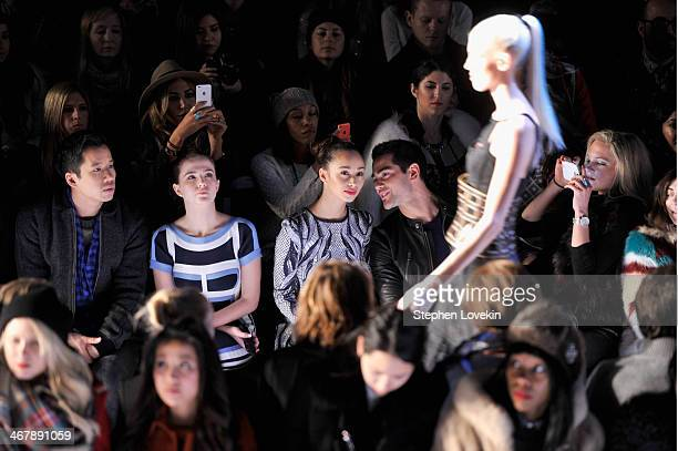 Zoey Deutch Cara Santana and Jesse Metcalfe attend the Herve Leger By Max Azria fashion show during MercedesBenz Fashion Week Fall 2014 at The...