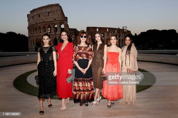 Zoey Deutch Catherine Zeta Jones Susan Sarandon Carys Zeta Douglas Kiernan Shipka and Lilakoi Moon attend the Cocktail at Fendi Couture Fall Winter...