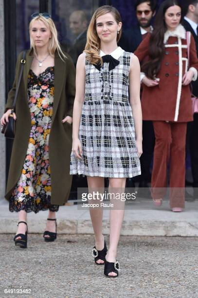 Zoey Deutch is seen arriving at Miu Miu fashion show during the Paris Fashion Week Womenswear Fall/Winter 2017/2018 on March 7 2017 in Paris France