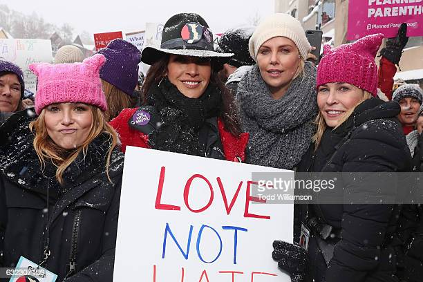 Zoey Deutch Jennifer Beals Charlize Theron and Chelsea Handler attend The March On Main hosted by Chelsea Handler on January 20 2017 in Park City Utah