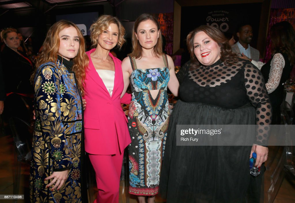 Zoey Deutch, Kyra Sedgwick, Anna Paquin and Chrissy Metz attend The Hollywood Reporter's 2017 Women In Entertainment Breakfast at Milk Studios on December 6, 2017 in Los Angeles, California.