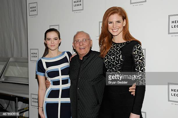 Zoey Deutch Max Azaria and Sarah Rafferty pose backstage at the Herve Leger By Max Azria fashion show during MercedesBenz Fashion Week Fall 2014 at...