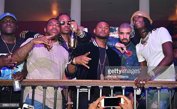 Zoey Dollaz DJ Holiday Future Usher Drake and Young Thug attend the Summer Sixteen Concert After Party at The Mansion Elan on August 27 2016 in...