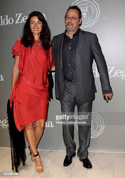 Zofia Borucka and Jean Reno attend the Cento Anni Di Eccellenza Exhibition Launch party during Milan Fashion Week Menswear Spring/Summer 2011 on June...