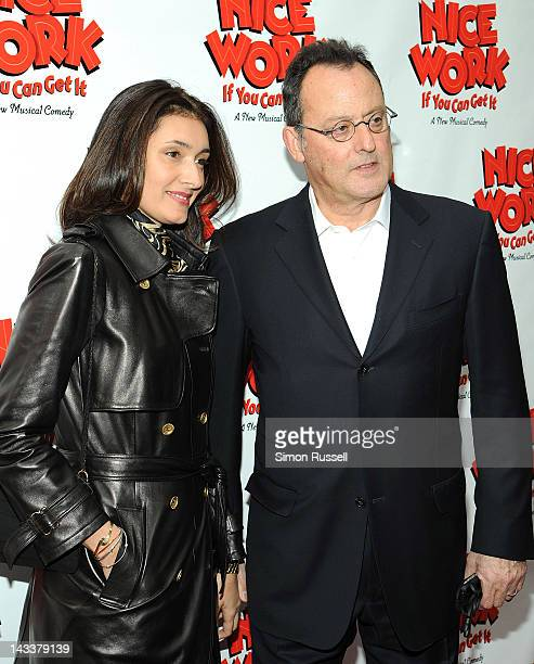 Zofia Borucka and Jean Reno attend the Nice Work If You Can Get It Broadway opening night at the Imperial Theatre on April 24 2012 in New York City