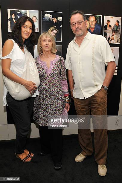 Zofia Borucka Catherine Verret Vimont and Jean Reno attend the New York Mon Amour Exhibition Opening Reception at The Film Society of Lincoln Center...