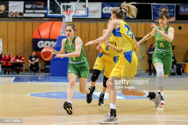 Zofia Denesne, Bec Allen and Tina Krajisnik are seen in action during EuroLeague Women group B match between Asseco Arka Gdynia and Sopron Basket in...