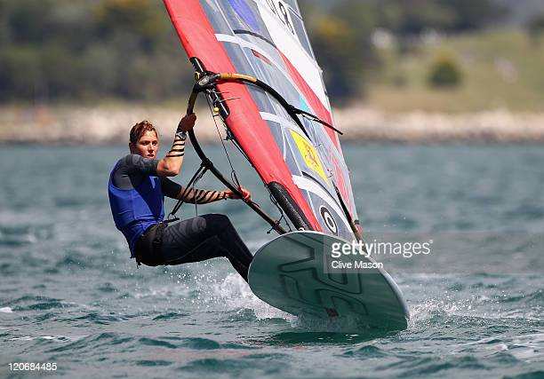 Zofia NocetiKlepacka of Poland in action during an RSX Womens Class race during day seven of the Weymouth and Portland International Regatta at the...