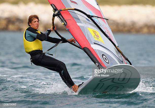 Zofia NocetiKlepacka of Poland in action on her way to winning a gold medal in the RSX Womens Class medal race on day ten of the Weymouth and...