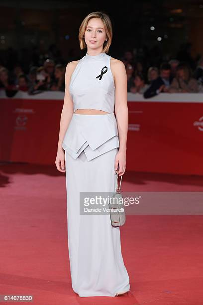 Zofia Wichlacz walks a red carpet for 'Snowden' And 'Powidoki Afterimage' during the 11th Rome Film Festival at Auditorium Parco Della Musica on...