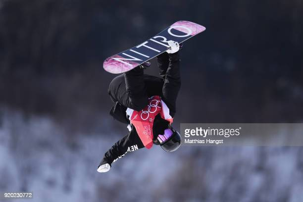 Zoi Sadowski Synnott of New Zealand competes during the Snowboard Ladies' Big Air Qualification on day 10 of the PyeongChang 2018 Winter Olympic...