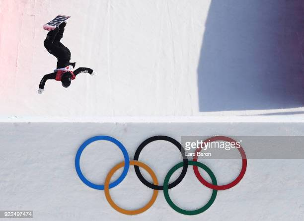 Zoi Sadowski Synnott of New Zealand competes during the Snowboard - Ladies' Big Air Final Run 1 on day 13 of the PyeongChang 2018 Winter Olympic...