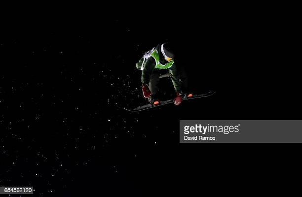 Zoi Sadowski Synnott of New Zealand competes in the Women's Snowboard Big Air final on day 10 of the FIS Freestyle Ski and Snowboard World...
