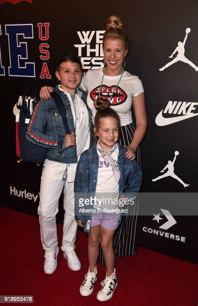 Zoie Laurel May Herpin Jodie Sweetin and Beatrix Carlin Sweetin Coyle attends the 2018 Rookie USA Show at Milk Studios on February 15 2018 in Los...