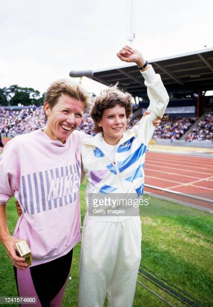 Zola Budd is congratulated Ingrid Kristiansen of Norway after breaking the Norweigan's Women's 5000 metre World Record at Crystal Palace on August...