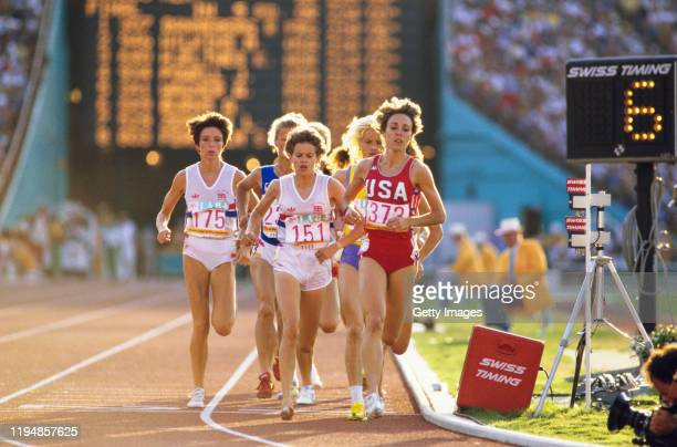 Zola Budd Mary Decker and Wendy Sly in action during the final of the 1984 Olympic Women's 3000 metres at the Memorial Coliseum on August 10th, 1984...