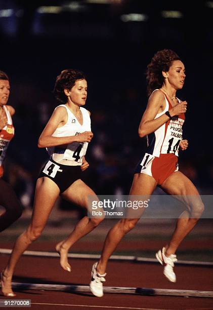 Zola Budd of England and Mary DeckerSlaney of the USA running in the women's 3000m event at the Peugot Talbot Games held at Crystal Palace London...
