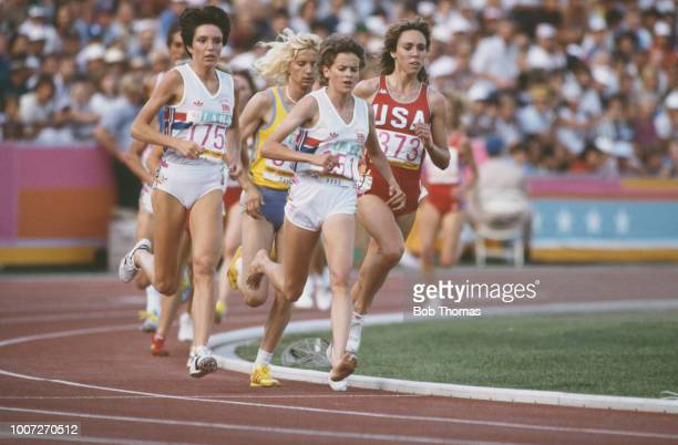 Zola Budd of Great Britain leads Mary Decker of the United States , Maricica Puica of Romania and Wendy Sly of Great Britain in the final of the...