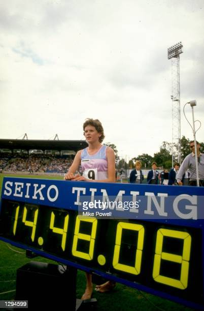Zola Budd of Great Britain sets a new 5000 metres World Record of 1448 seconds during the McVities Challenge at Crystal Palace in London Mandatory...