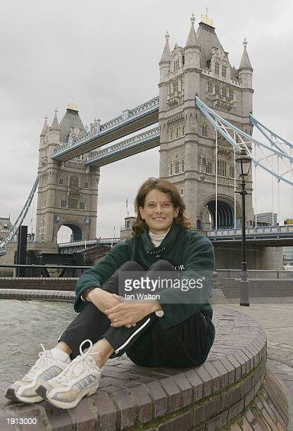 Zola Budd of South Africa during a press photocall at the Thilte Hotel at Tower Bridge prior to the 2003 Flora London Marathon in London on April 11...