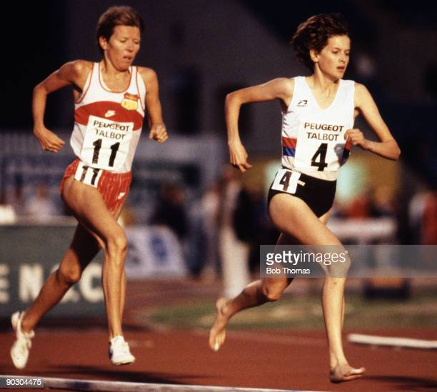 Zola Budd running for Great Britain leads from Norway's Ingrid Kristiansen in the women's 3000m event at the Talbot Games held at Crystal Palace...