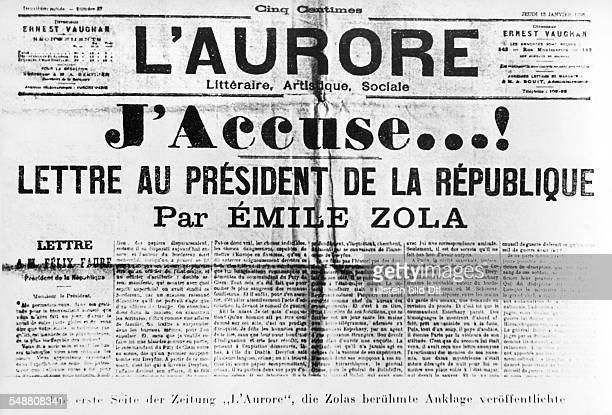 Zola Emile *02041840 Schriftsteller Frankreich Zeitungsartikel in 'L'Aurore' vom 13011898 in dem EZ zur Affaere Dreyfus Stellung nimmt 'J'accuse' 1898