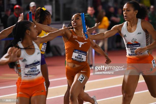 Zola Golden of the Texas Longhorns competes in the 4x400 meter relay during the Division I Men'u2019s and Women'u2019s Indoor Track Field...
