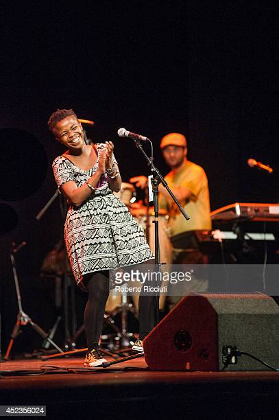 Zolani Mahola of Freshlyground performs on stage for Mandela Day Concert at Edinburgh Jazz Blues Festival at Festival Theatre on July 18 2014 in...