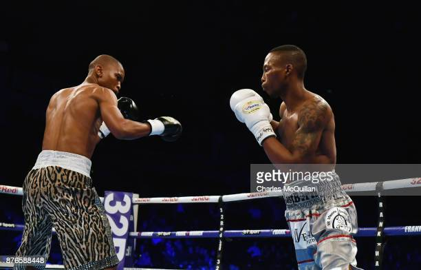 Zolani Tete and Siboniso Gonya during their WBO Bantamweight Championship of the World title fight on the Frampton Reborn boxing bill at SSE Arena...
