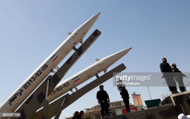 Zolfaghar missiles are displayed during a rally marking alQuds Day in Tehran on June 23 2017 Chants against the Saudi royal family and the Islamic...