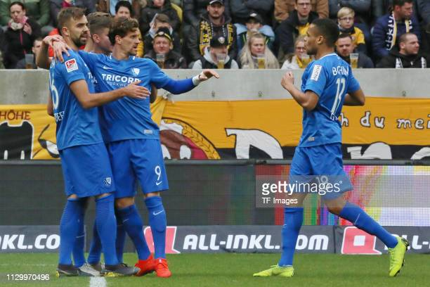 Zoller Simon of VfL Bochum 1848 celebrates with team mates during the second Bundesliga match between Dynamo Dresden and VfL Bochum 1848 at...
